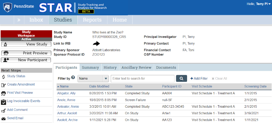 A screenshot of the STAR study workspace with the first tab, Participants, selected.