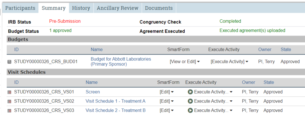 A screenshot of the STAR study workspace with the second tab, Summary, selected.