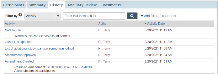 A screenshot of the STAR study workspace with the third tab, History, selected.