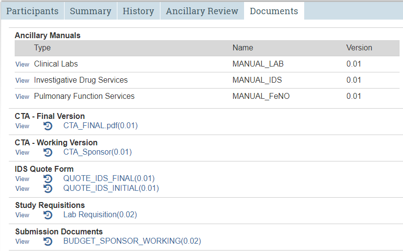 A screenshot of the STAR study workspace with the fifth tab, Documents, selected.